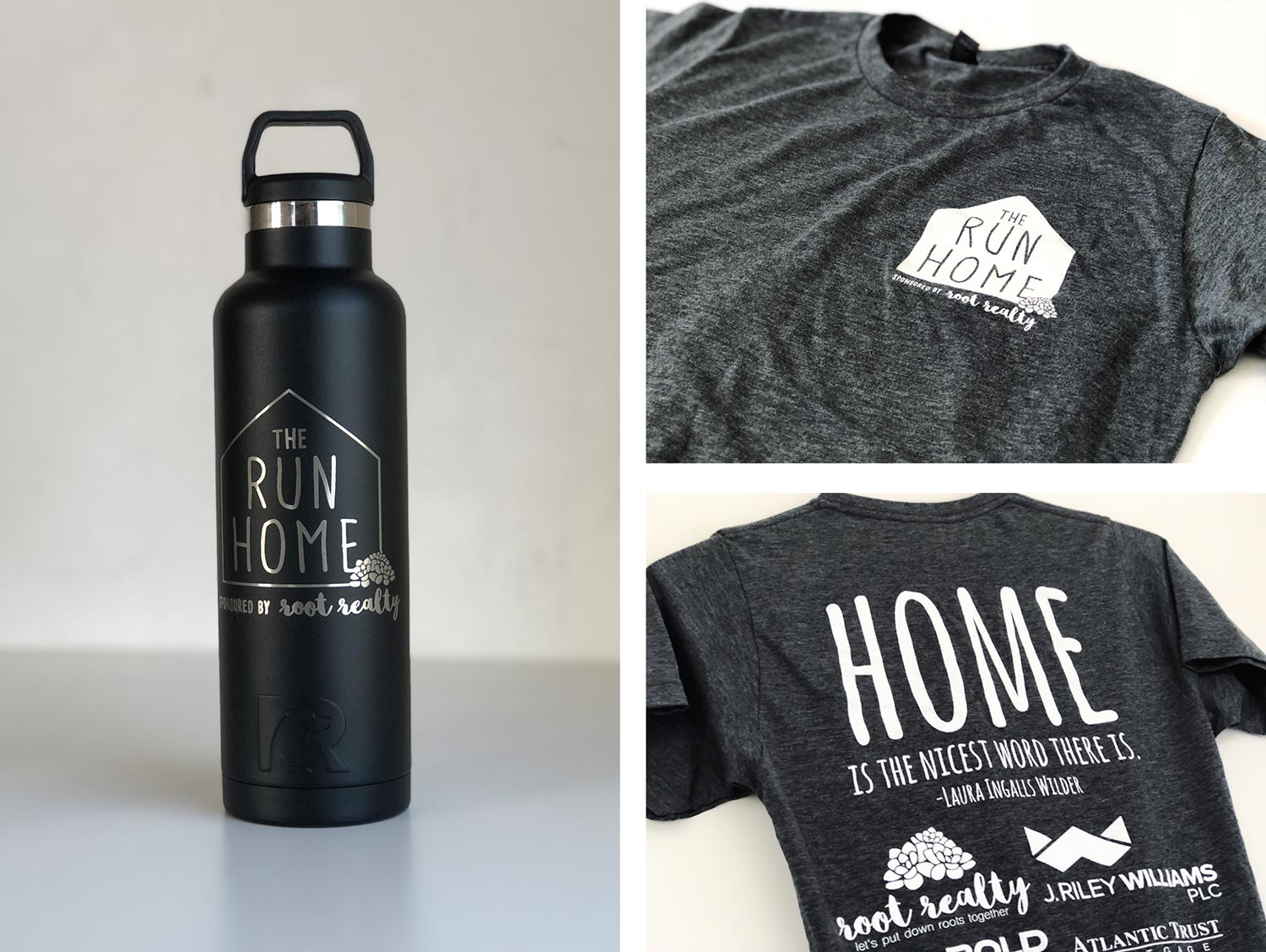 The Run Home 5K Water Bottle and T-shirt designs, front and back.