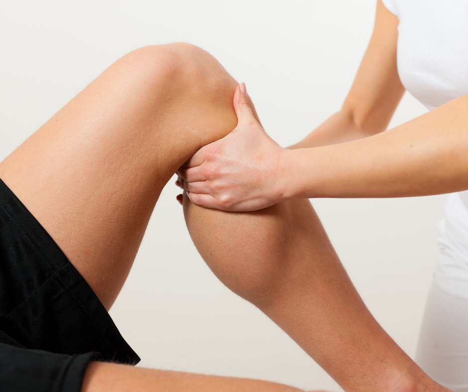Massaging leg at blackgold physiotherapy fort mcmurray