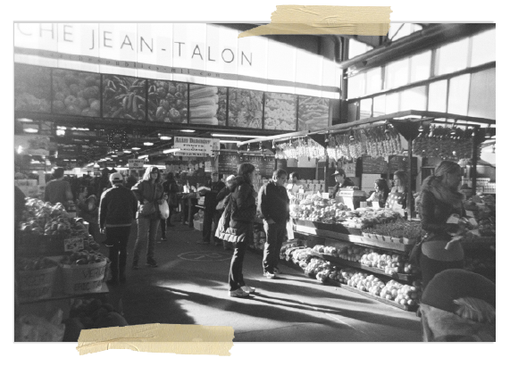 Photo of Jean-Talon, a food market in Montreal.