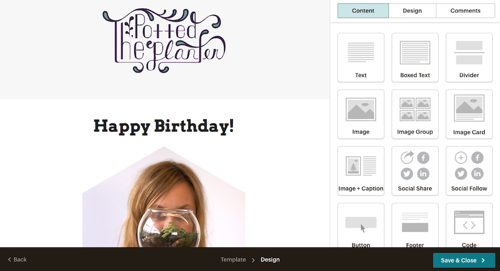 """A screenshot of an example """"Happy Birthday"""" campaign being designed in Mailchimp"""