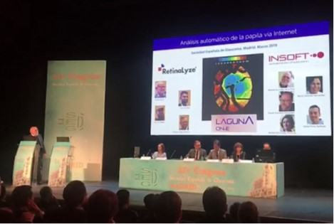 Professor Gonzalez de la Rosa (GR) presenting at the annual congress of the Spanish Glaucoma Society