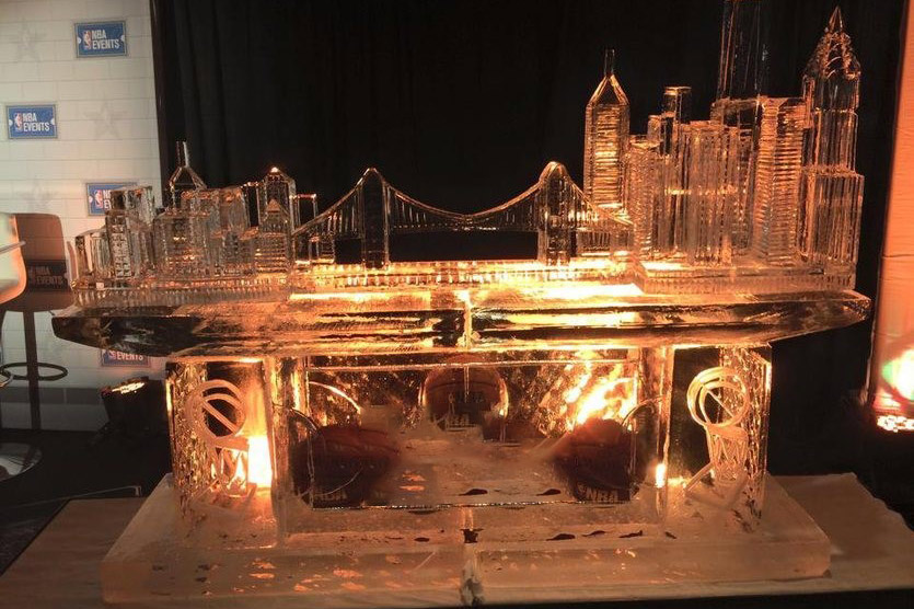 Ice Carving of City Skyline