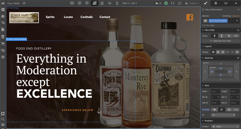 Hero Image of Fogs End Distillery Website