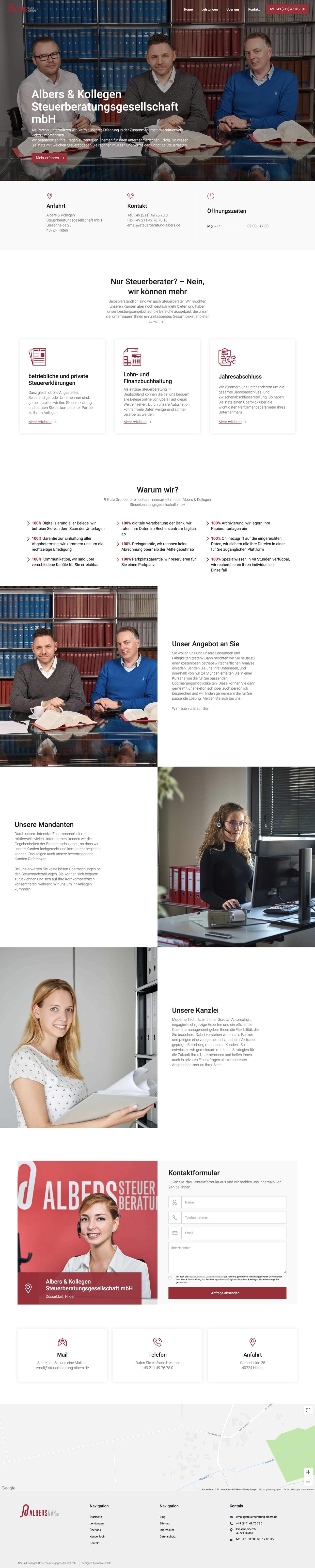 Albers Steuerberatung Webdesign Referenz