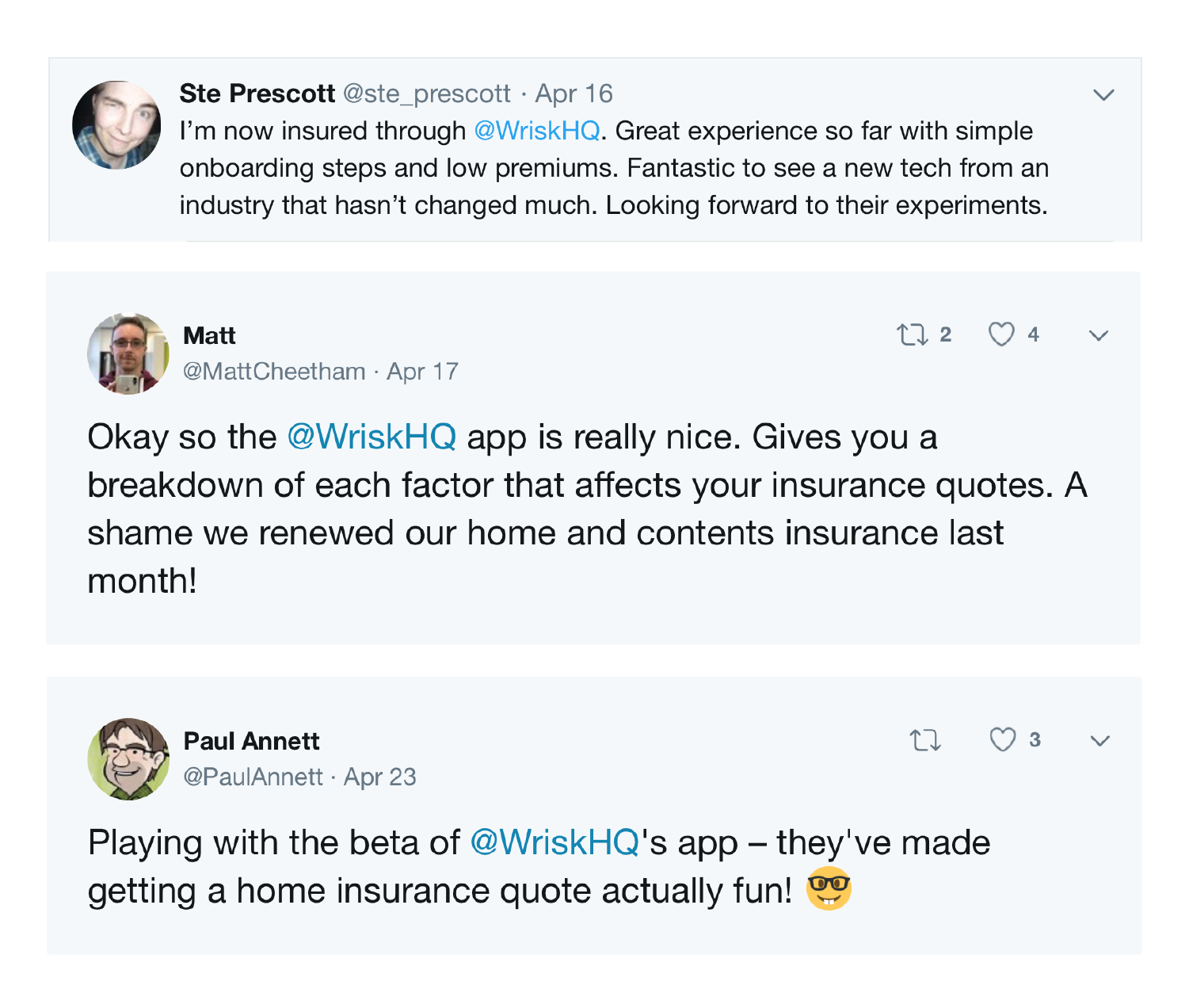 A collection of tweets from Wrisk customers about their positive experiences with the app