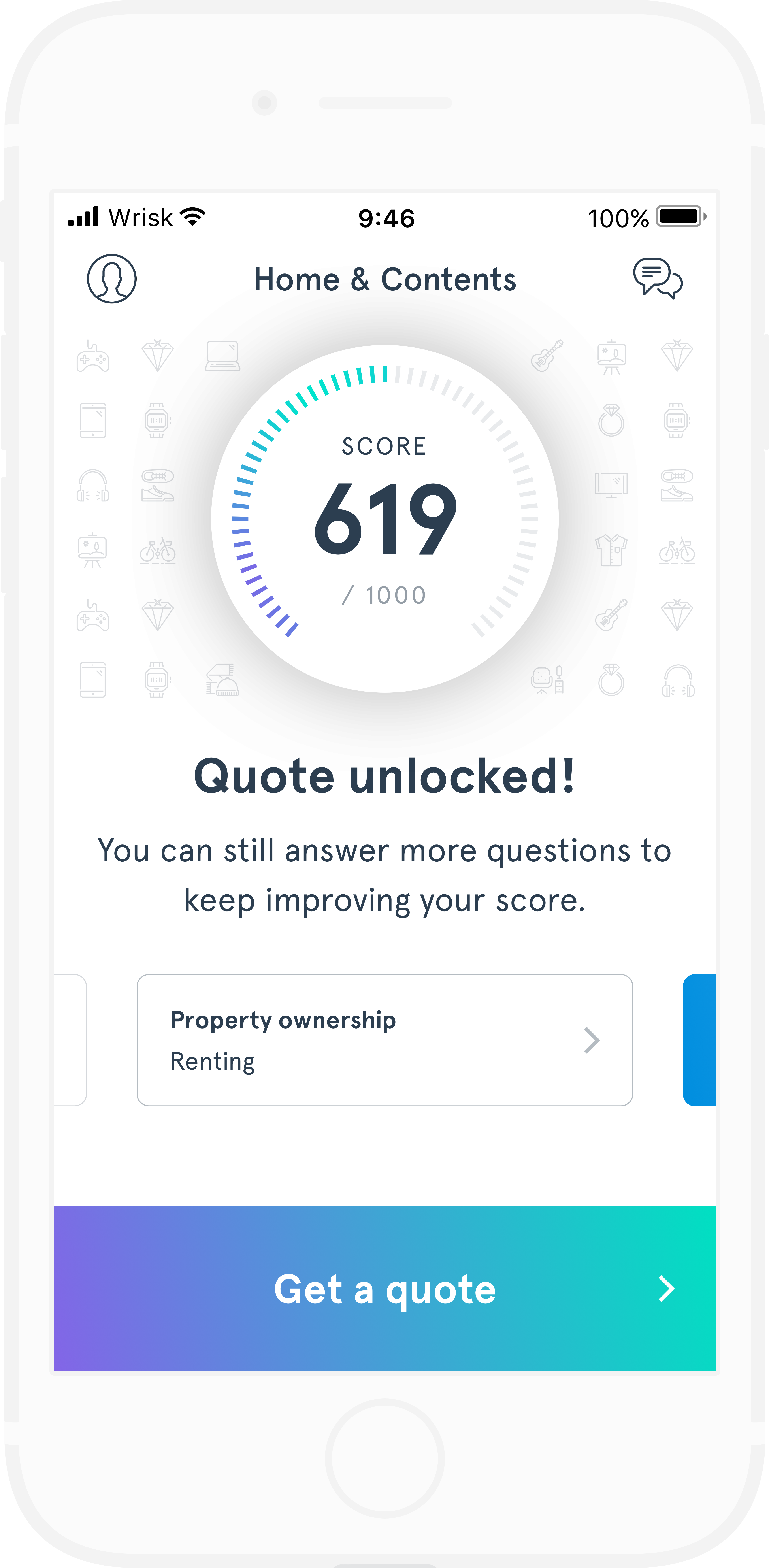 A screenshot of the quote unlocked screen on the Wrisk app