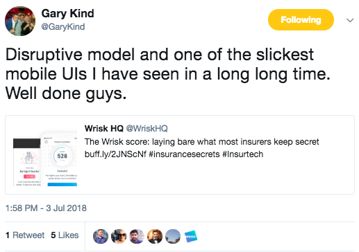 A complimentary customer tweet about the Wrisk product