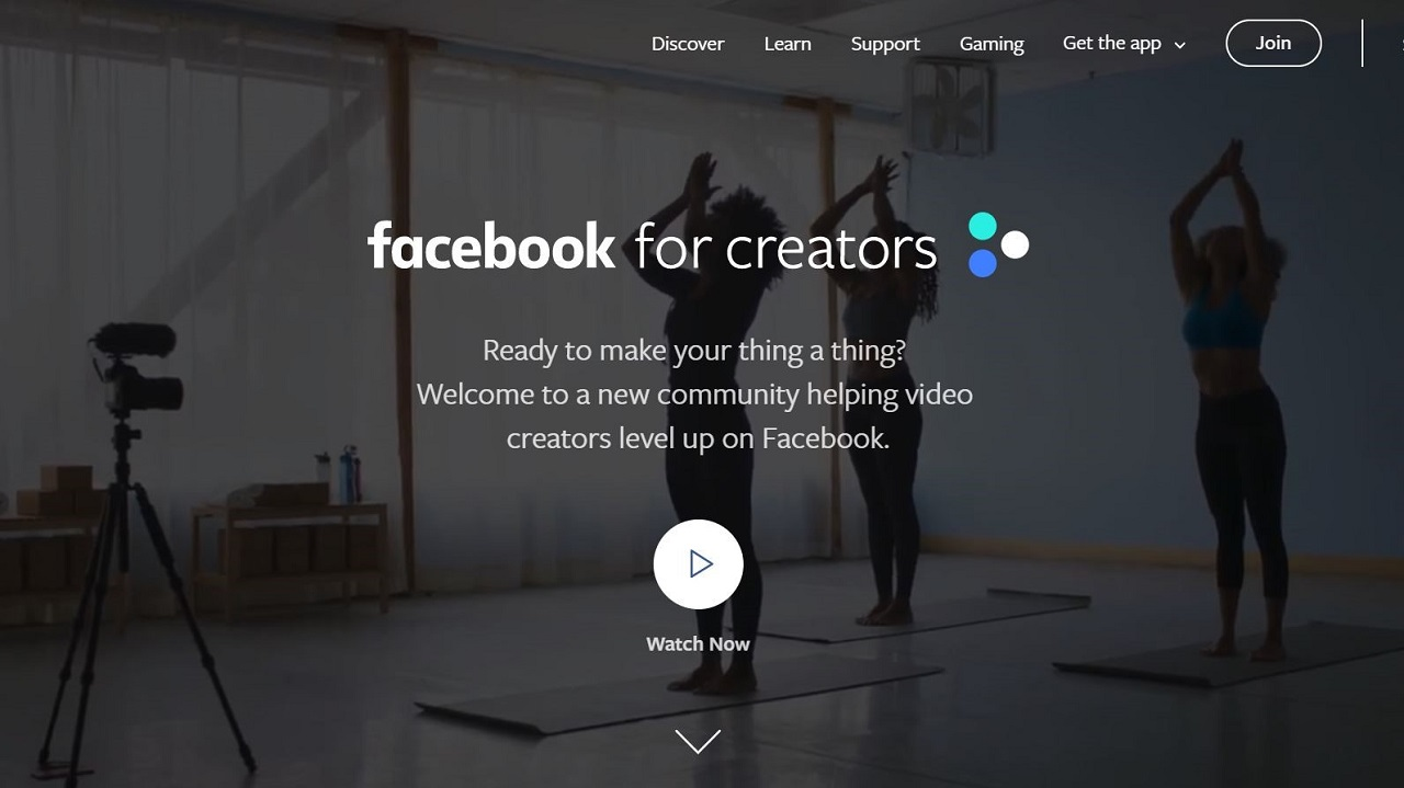 Facebook for Creators homepage