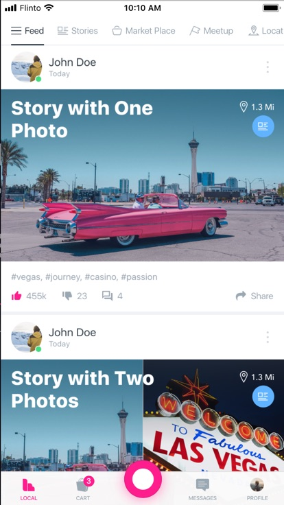 social mobile app with news feed experience