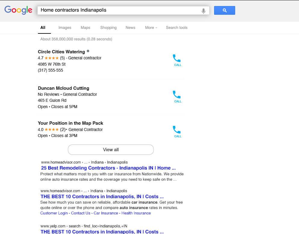 Digital marketing search results