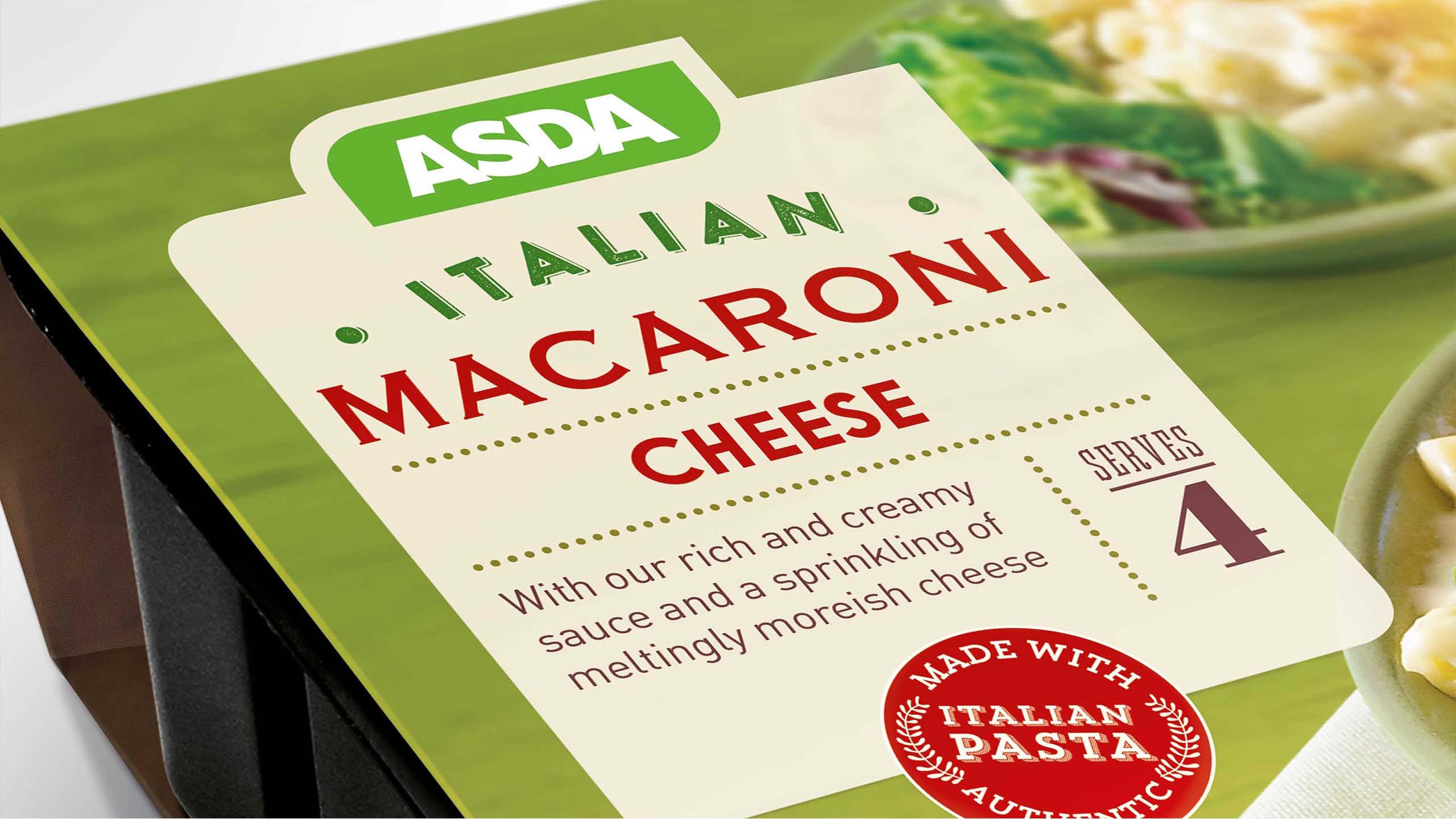 Close up shot of ASDA ready meal packaging