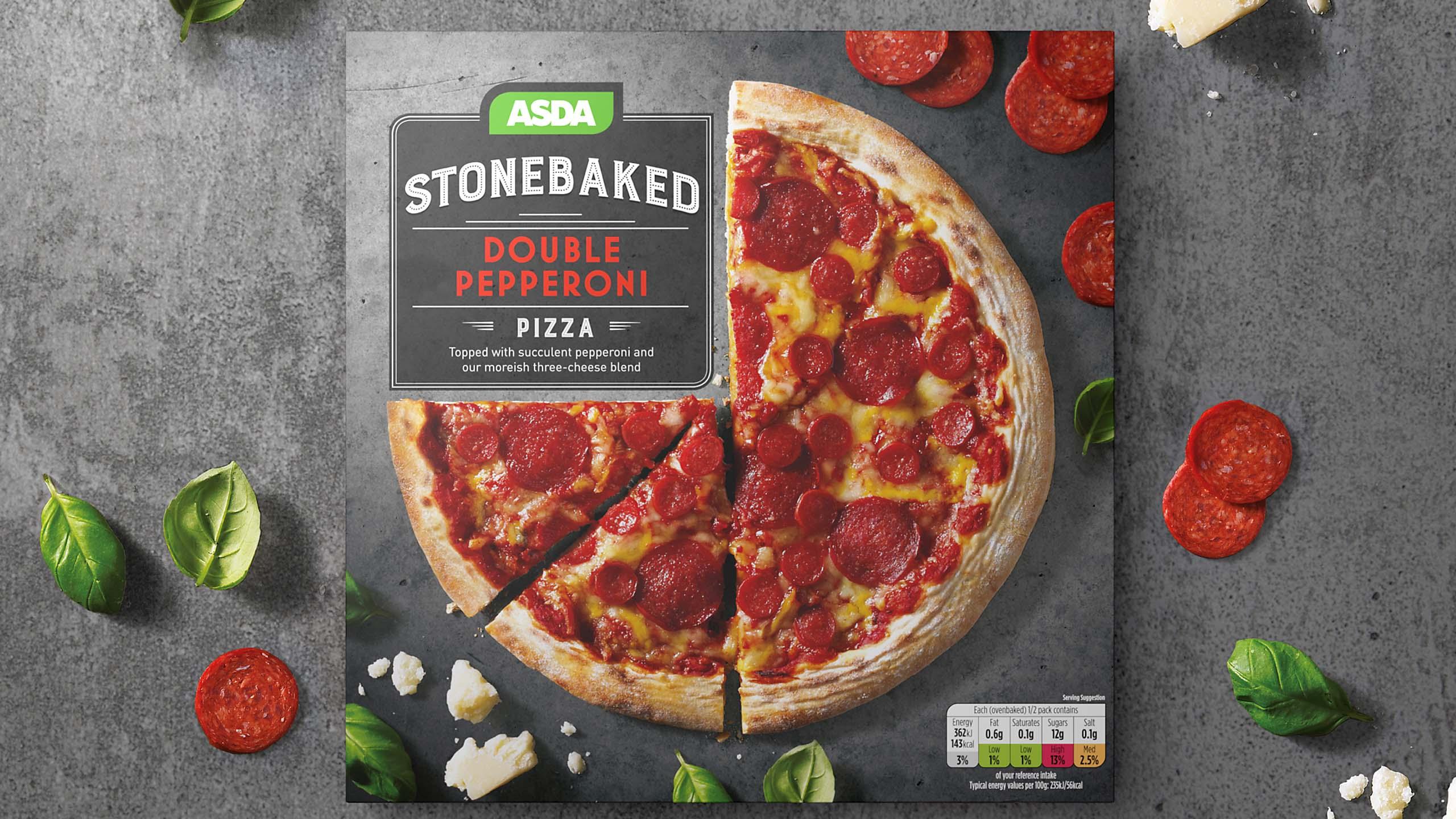 Mockup of ASDA frozen pizza box design