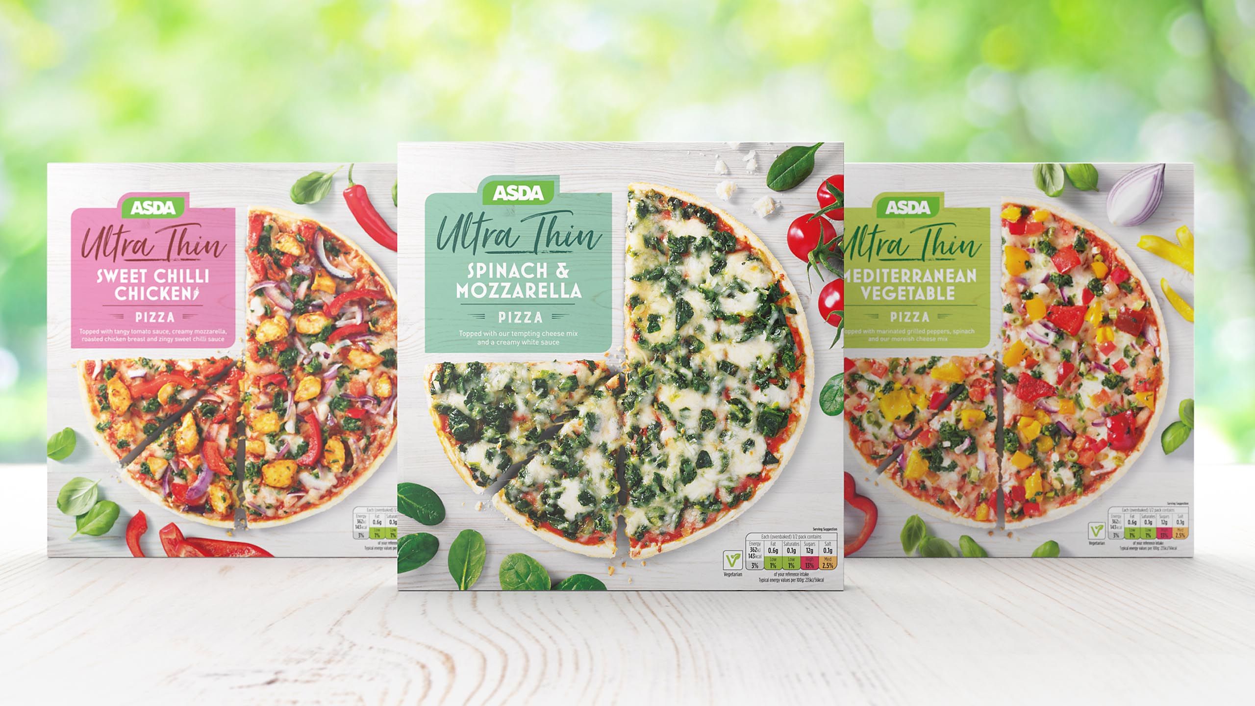 Lineup of ASDA Ultra Thin pizza design
