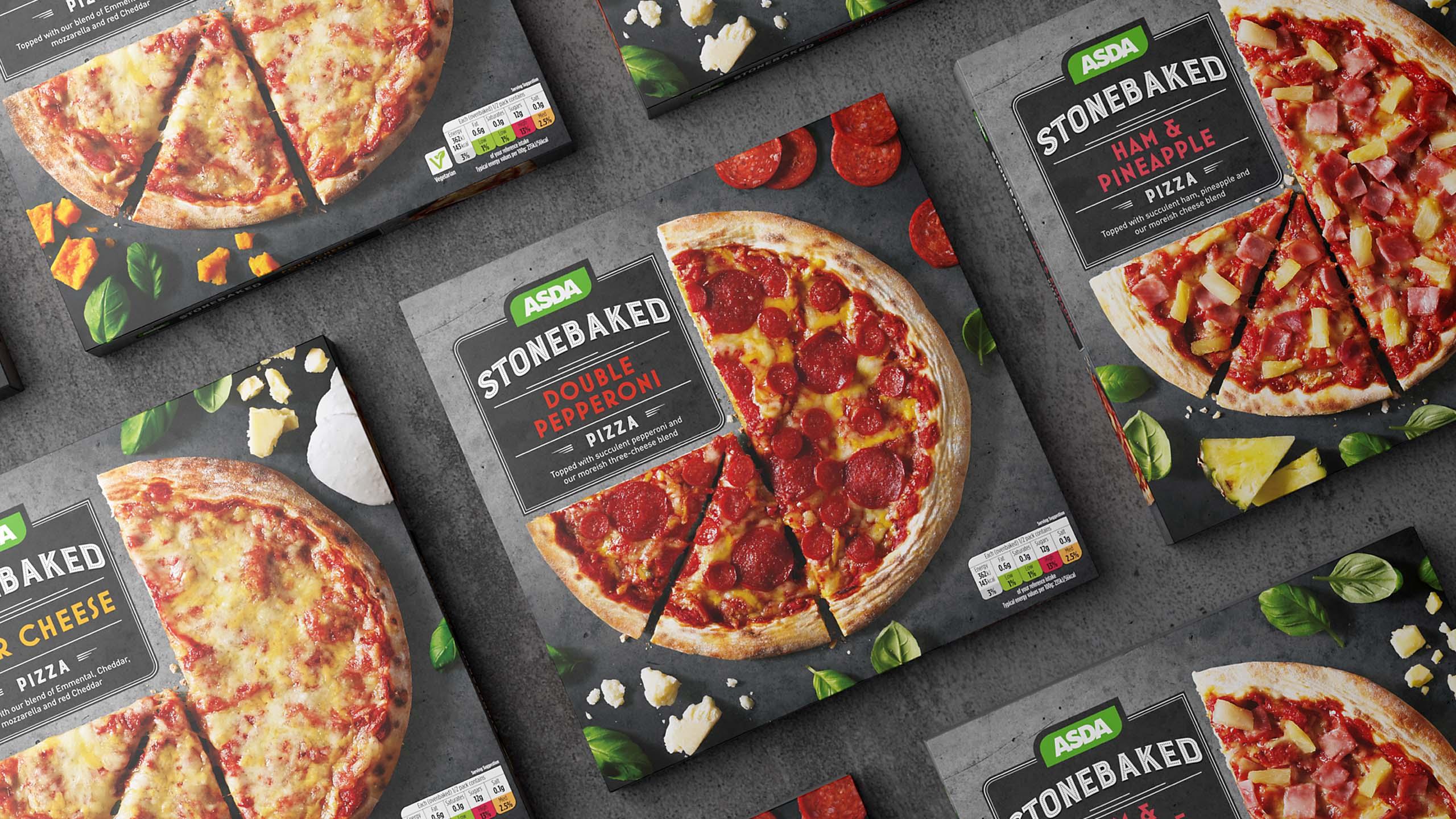 Range of ASDA frozen pizza packaging