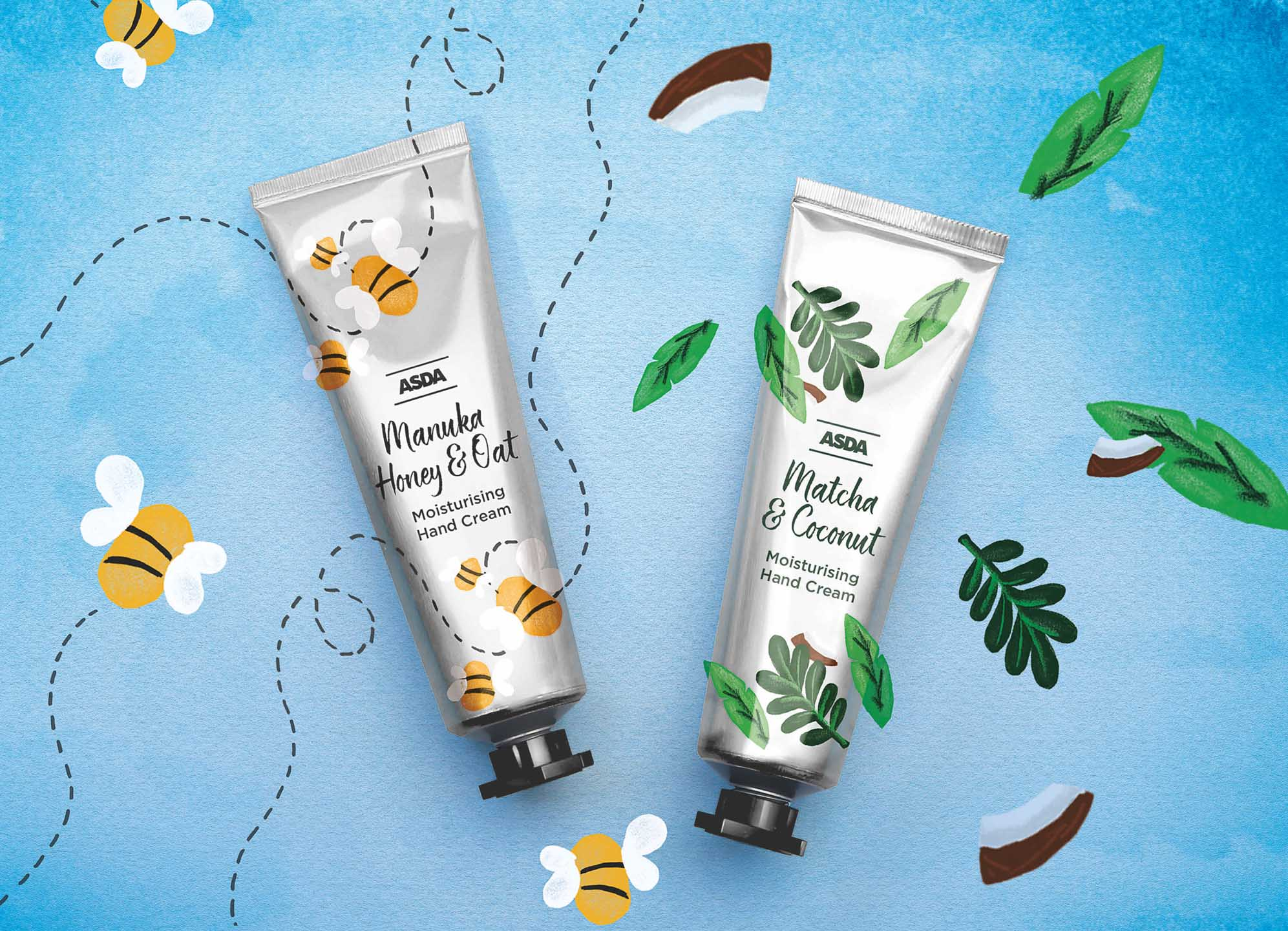 Tubes of hand cream packaging design