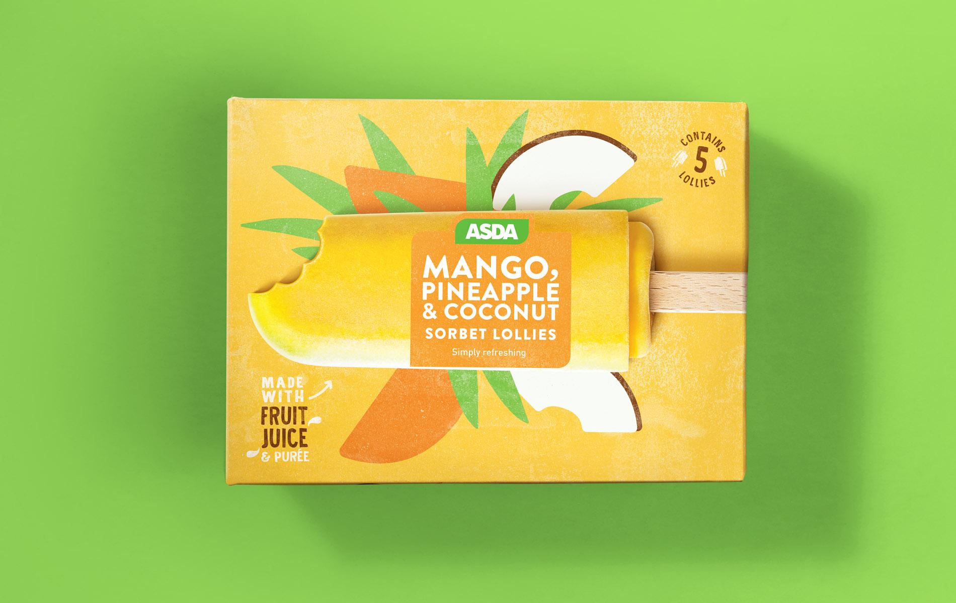 Packaging design of mango sorbet lollies