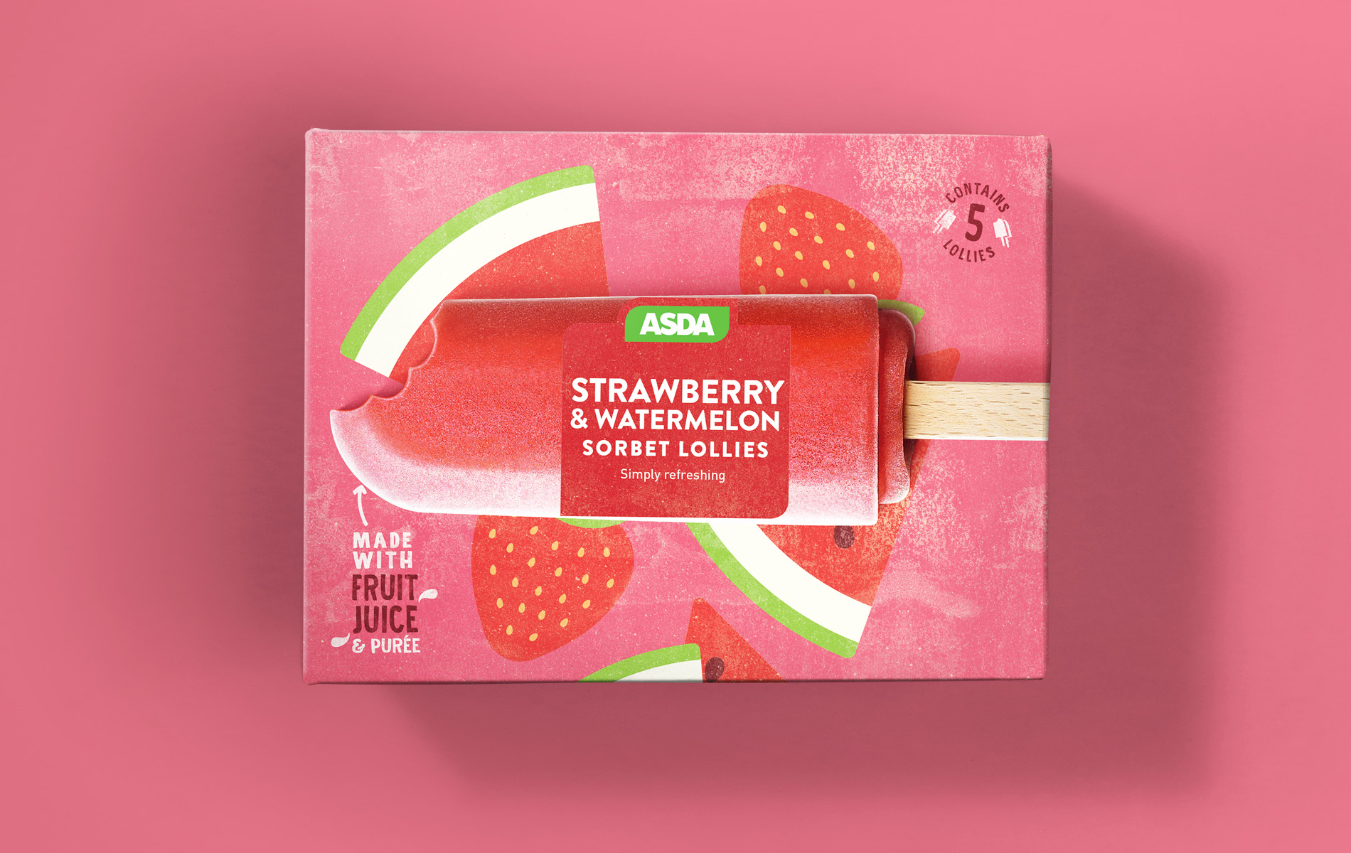 Packaging design of strawberry sorbet lollies