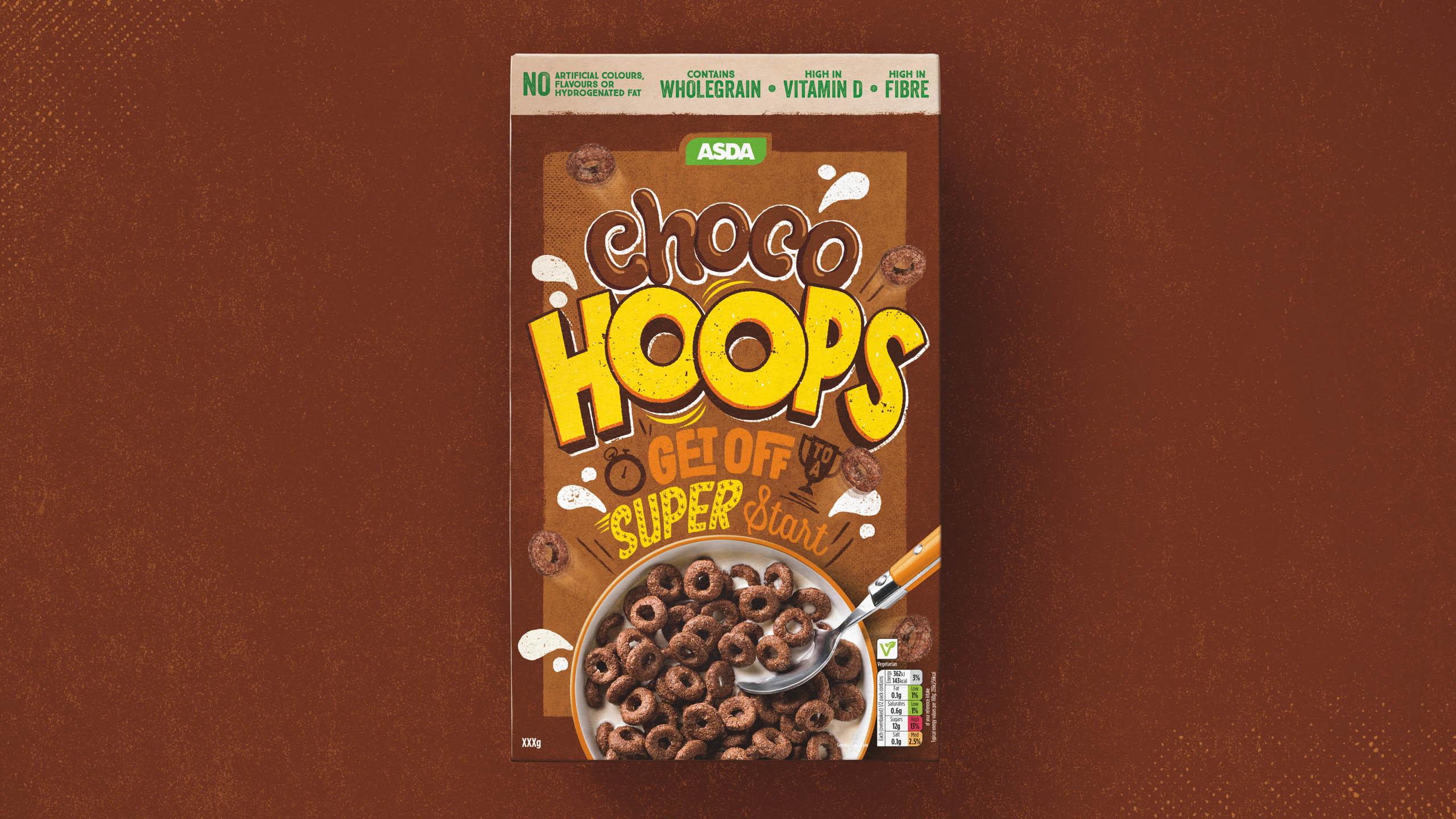 Mockup of ASDA cereal box