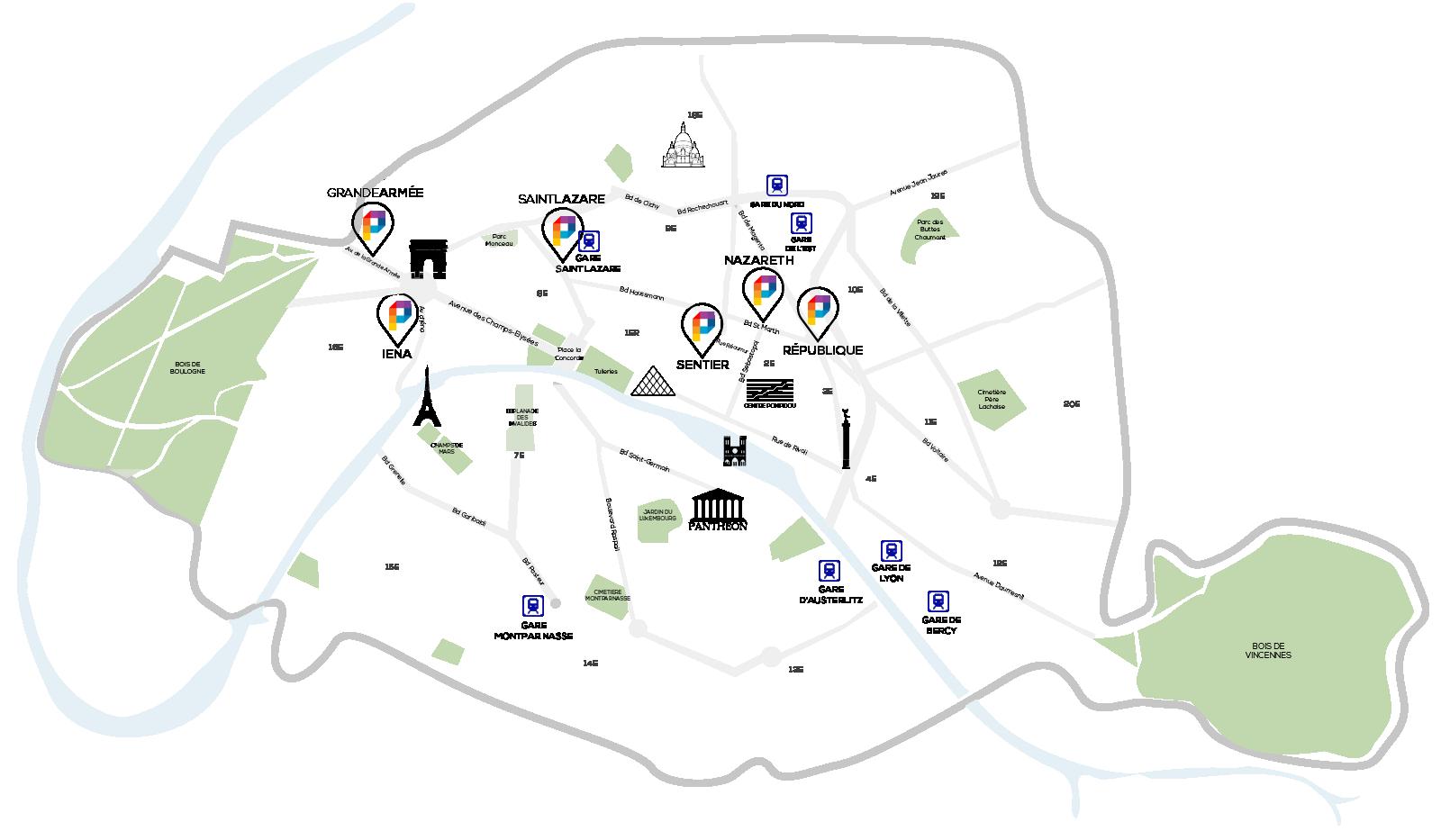 map coworking paris