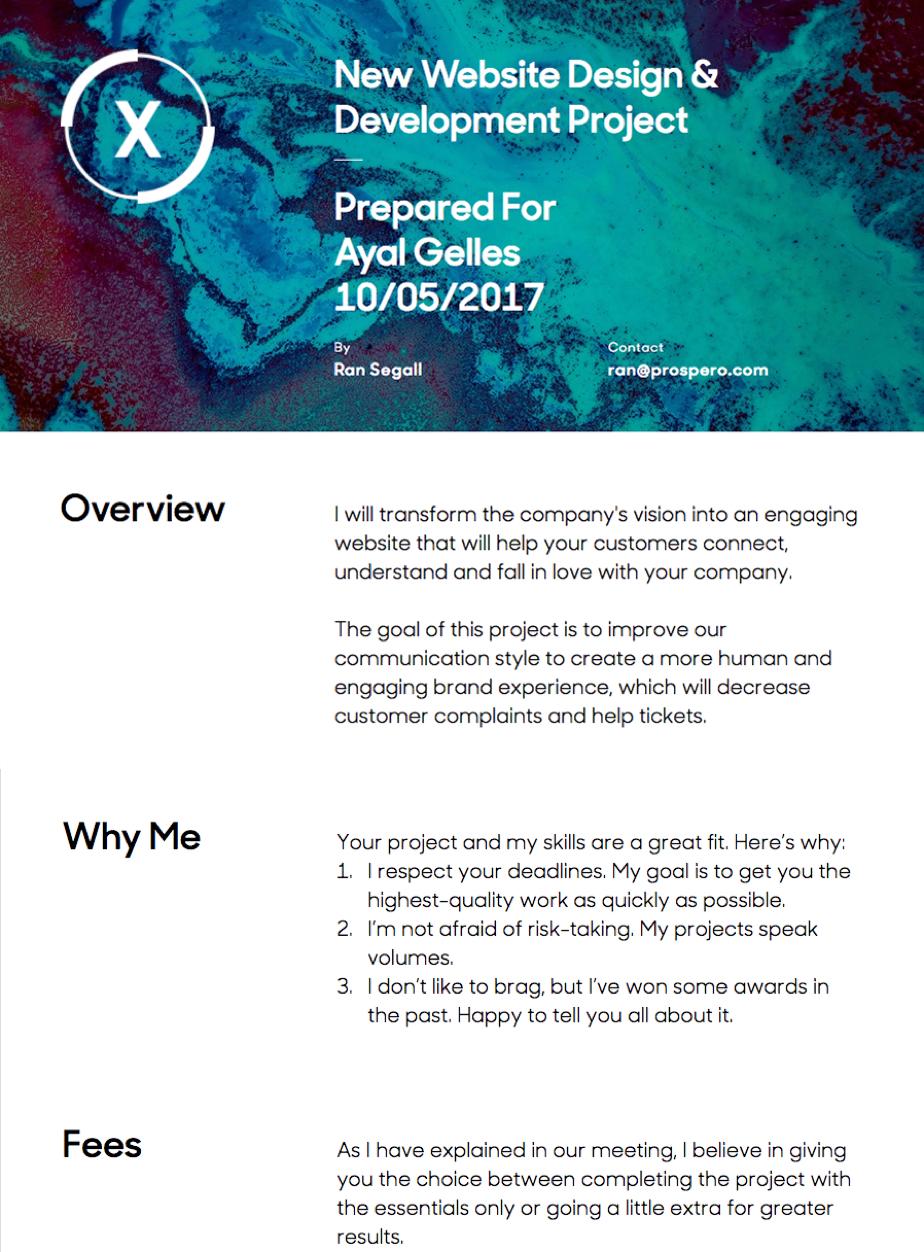 Prospero Professional Proposals For Creative Freelancers