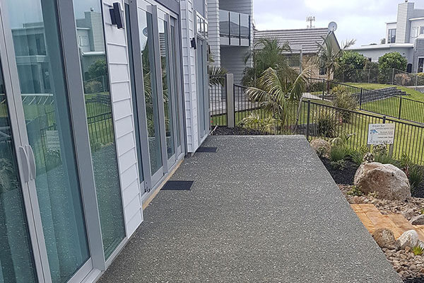 Outside polished concrete finiash