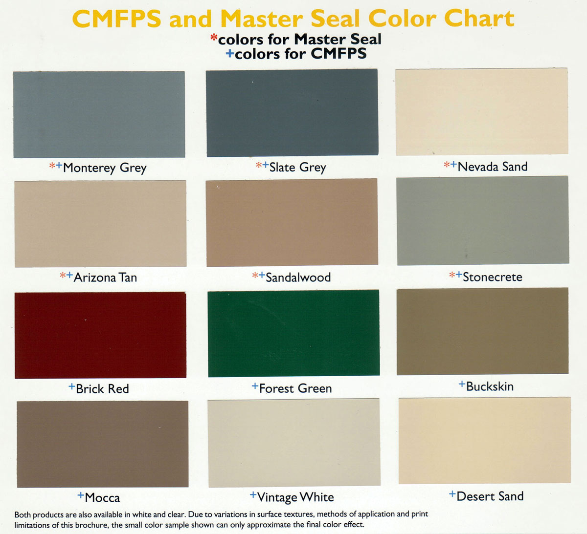 Desert Brand Color Chart