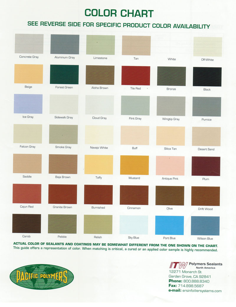 Pacific Polymer Color Chart