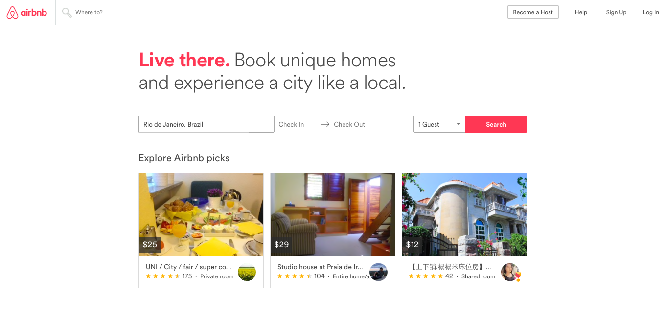 AirBnB search funcitonality