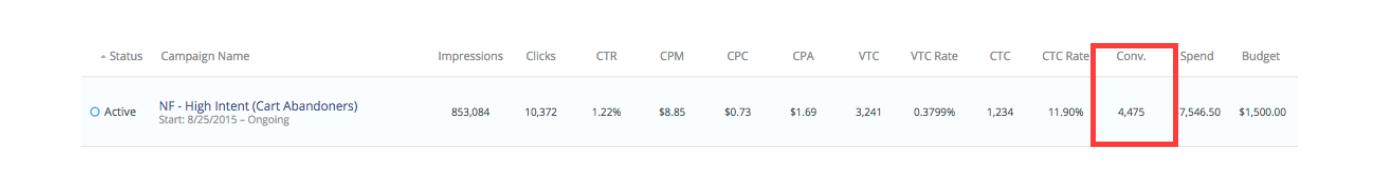 A screenshot of a sample conversion segment in AdRoll