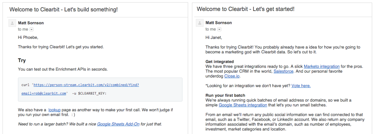 An example of Clearbit personalizing its onboarding emails to increase product adoption