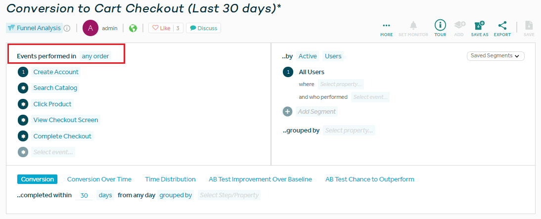 a screenshot of a conversion funnel in amplitude, showing converstion to cart checkout over the last 30 days. this time, events can be performed in any order.