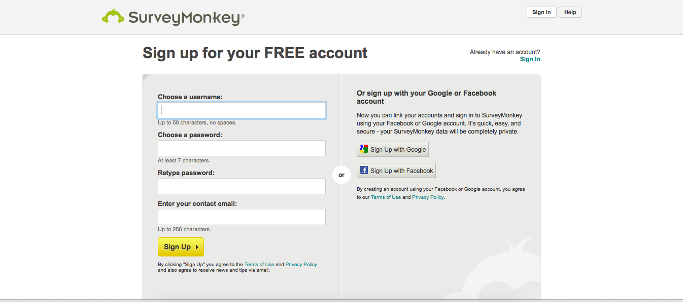 SurveyMonkey's single sign on form