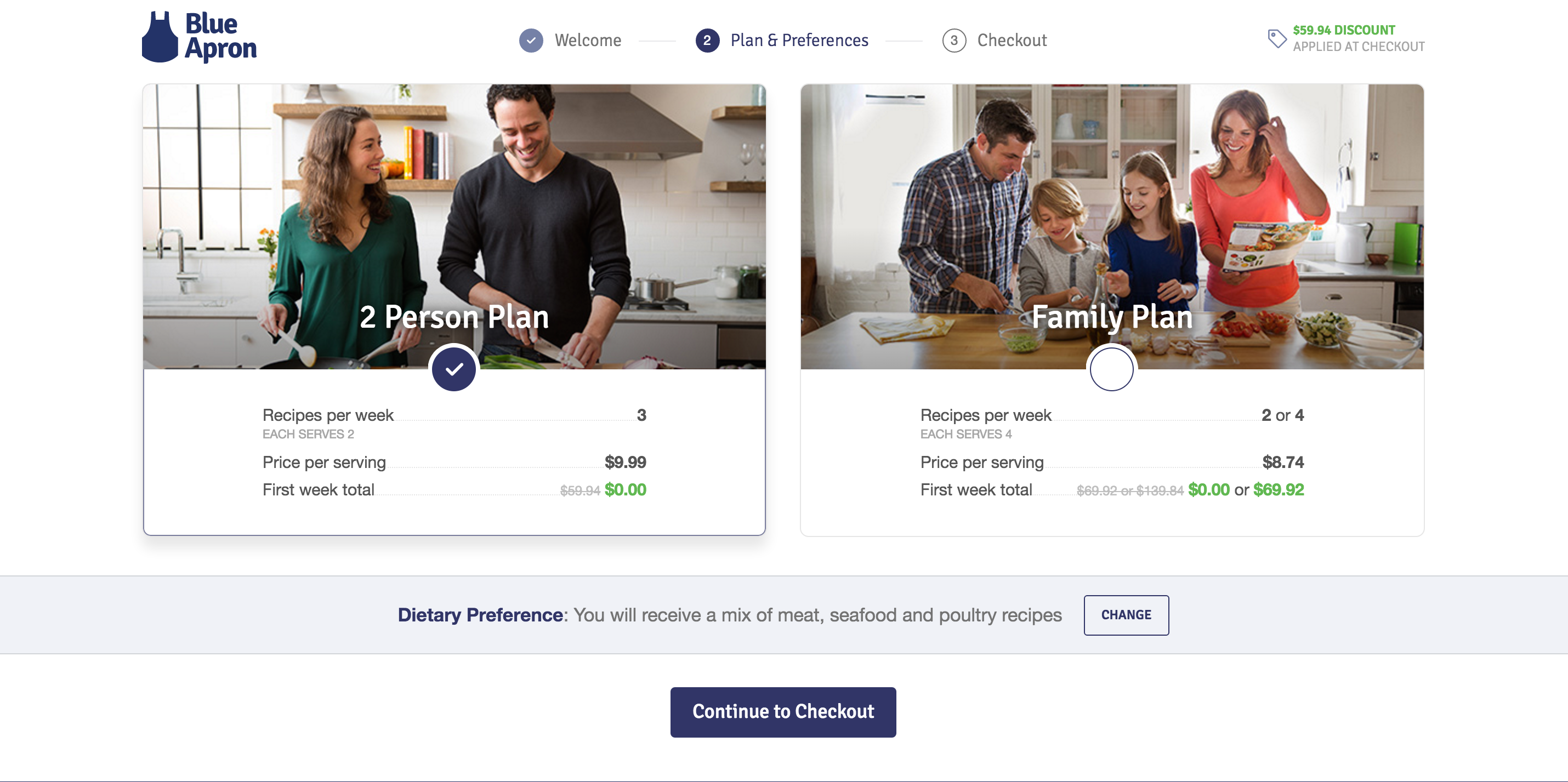 Blue Apron's onboarind screen for different plans