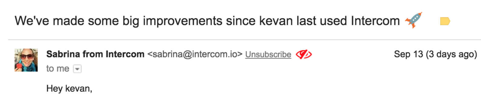 A screenshot of an email from Intercom with a real person's picture in the avatar