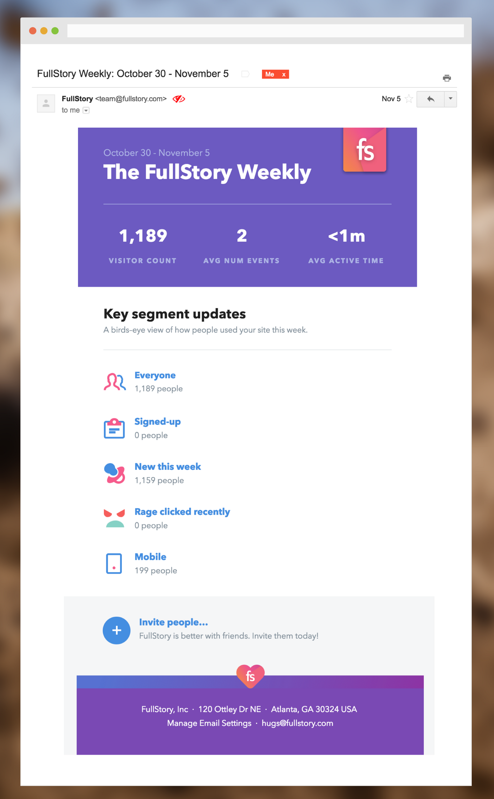 FullStory's weekly custom reports email