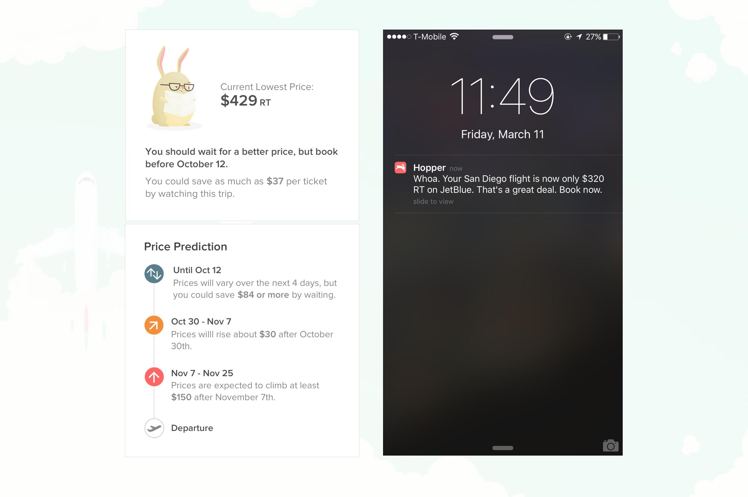 Hopper price alert notification