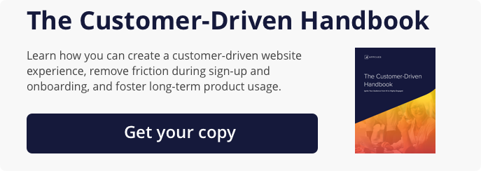 An ad for The Customer-Driven Handbook. Learn how you can create a customer-driven website experience, remove friction during sign-up and onboarding, and foster long-term product usage.