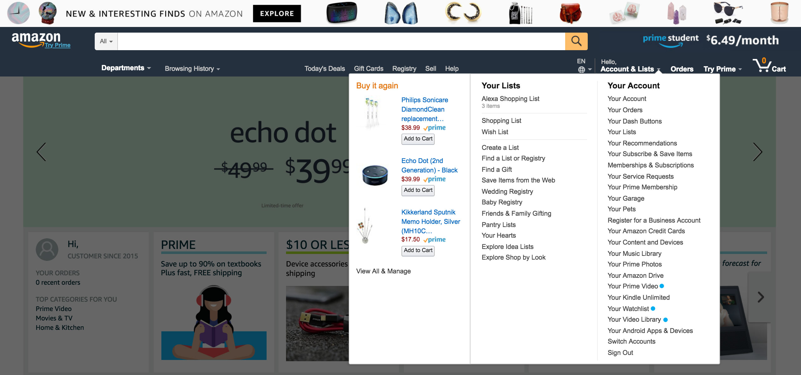 A screenshot of Amazon's account dropdown list that shows a laundry list of confusing paths to take