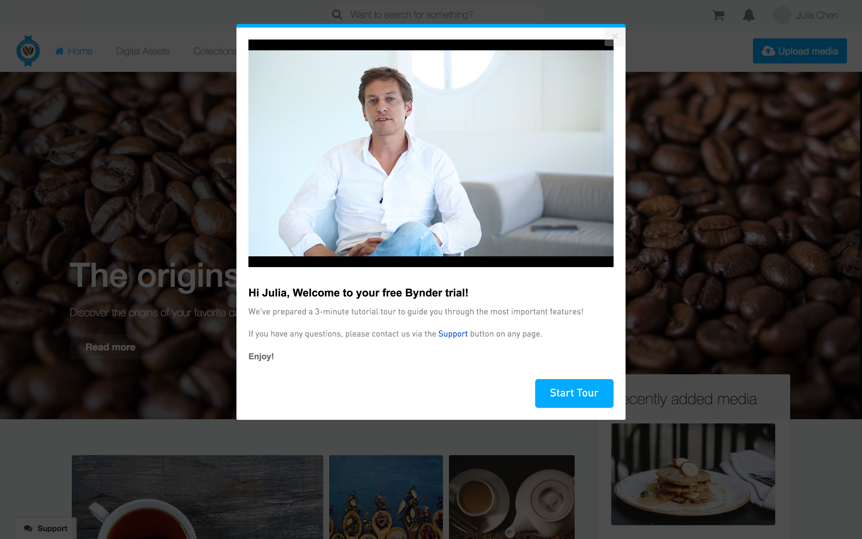 Bynder user onboarding welcome message modal