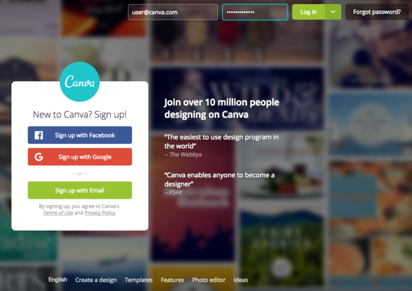 Canva's log in page with single sign on options including facebook and google