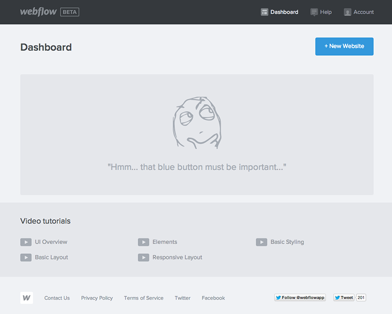 Webflow's welcome dashboard that includes a clear next step of adding a new website
