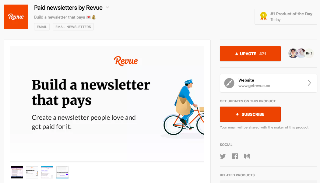 A screen shot of Revue's annoucement on Product Hunt