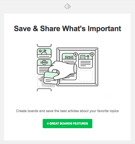 Feedly's email that promotes it's new prodcut feature