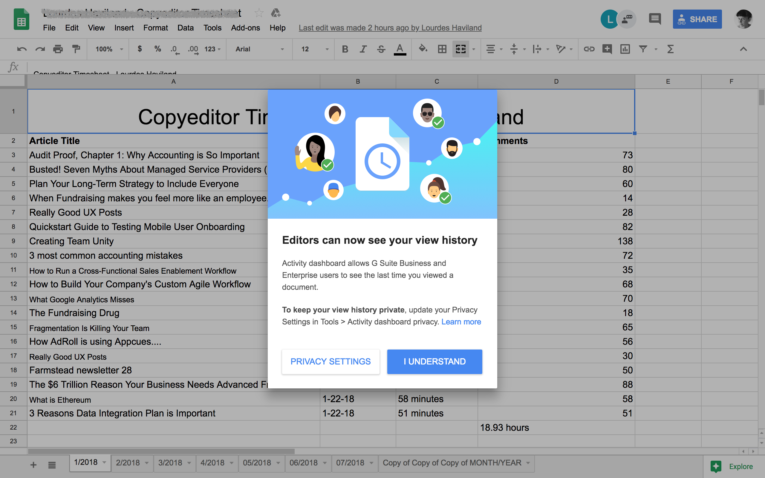An example of an in-product modal. Google Sheets informs users of changes in the product.