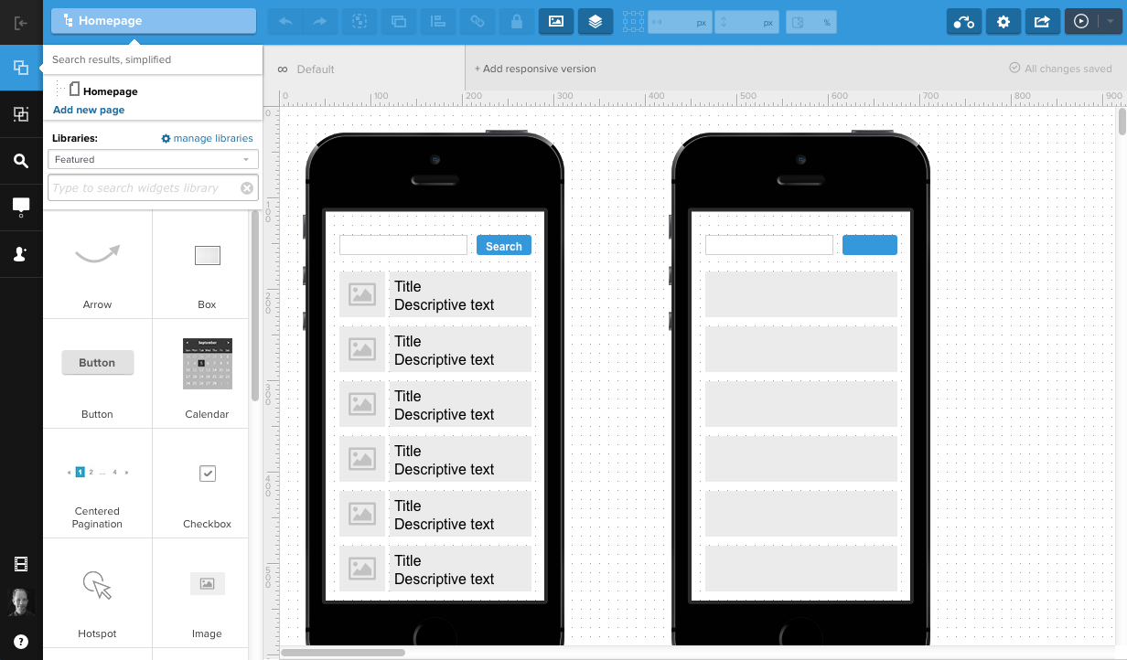 A screenshot of UXPin demonstrating how to build prototypes using their platform.