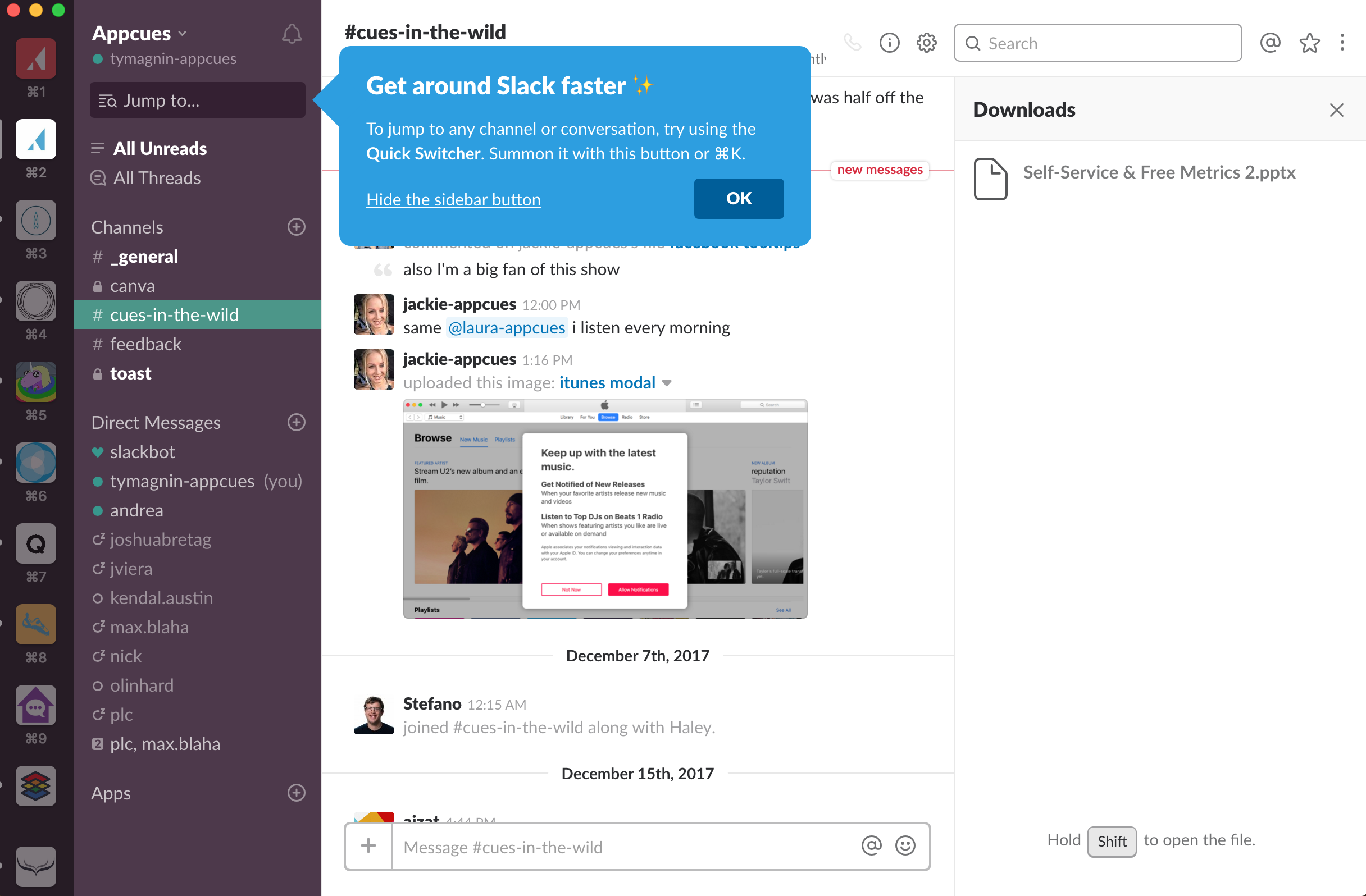 Slack uses an action-driven tooltip to educate first time users