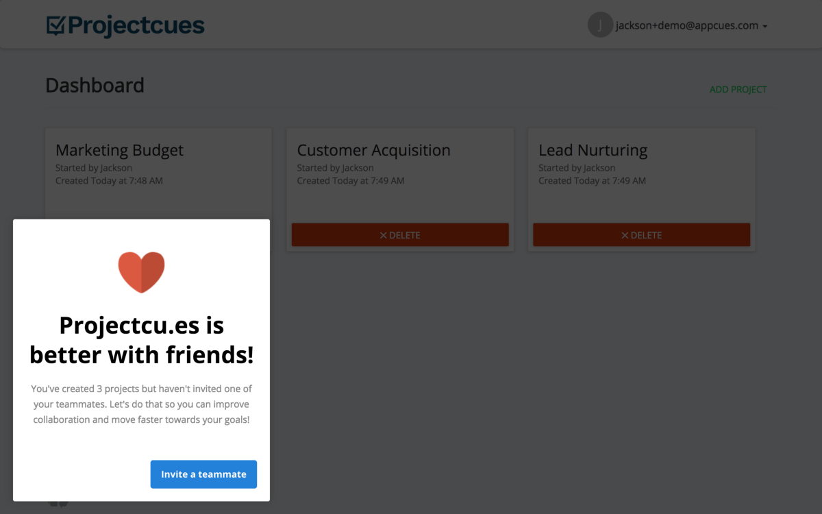 A lifecycle nudge built and published in  5 minutes, without code, using Appcues