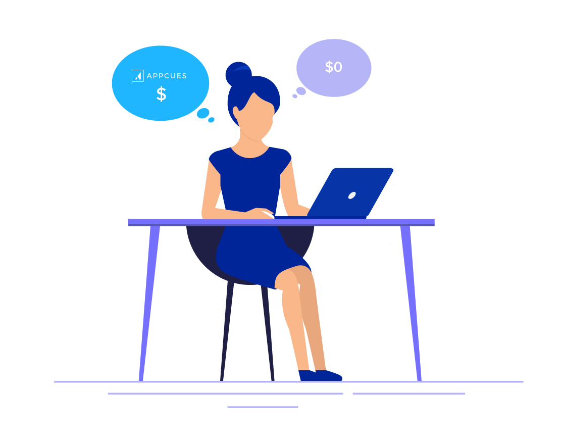 an illustration of a woman with two thought bubbles. she's debating building her own onboarding experience internally or buying appcues.