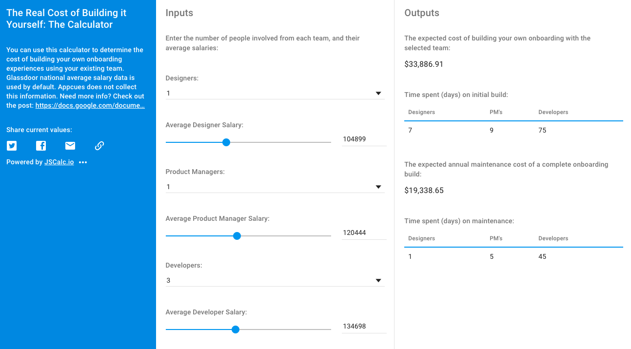 A screenshot from our onboarding cost calculator