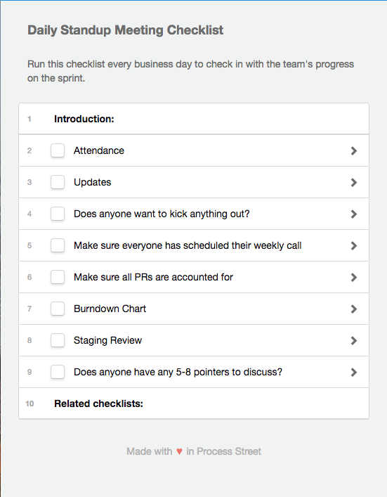 A portion of Process Street's daily standup meeting checklist